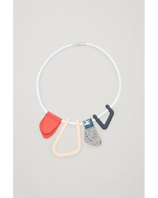 COS - Red Abstract-shape Leather Necklace - Lyst