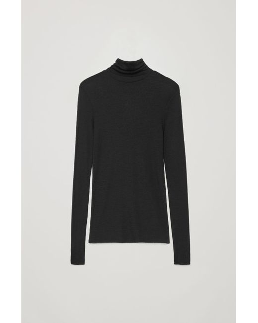 a61921d5bcd9 COS Fine Roll-neck Wool Top in Black - Save 43% - Lyst