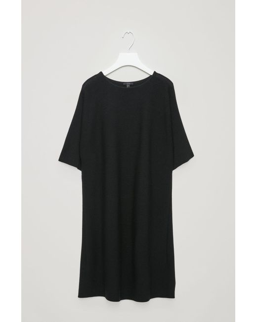 COS - Black Rectangular Knitted Dress - Lyst
