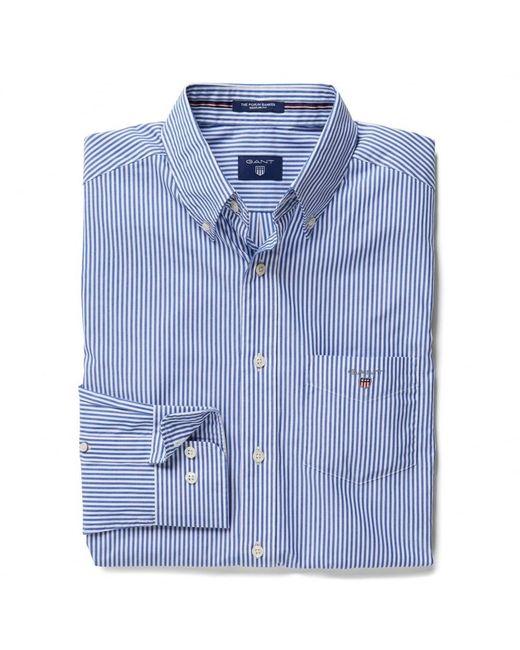 Gant - Blue The Poplin Banker Stripe Mens Shirt for Men - Lyst