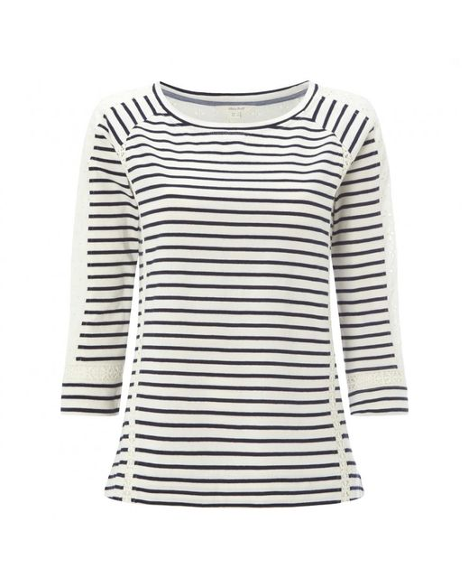 White Stuff - Blue Lace Stripe Womens Jersey Tee - Lyst