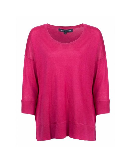 French Connection - Pink Spring Light Knits Long Sleeve Scoop Neck Womens Jumper - Lyst