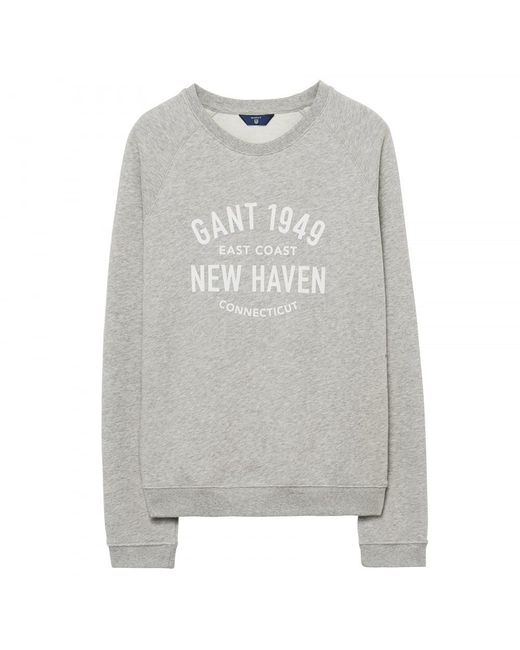 Gant - Gray Pastel Crew Neck Womens Sweater - Lyst