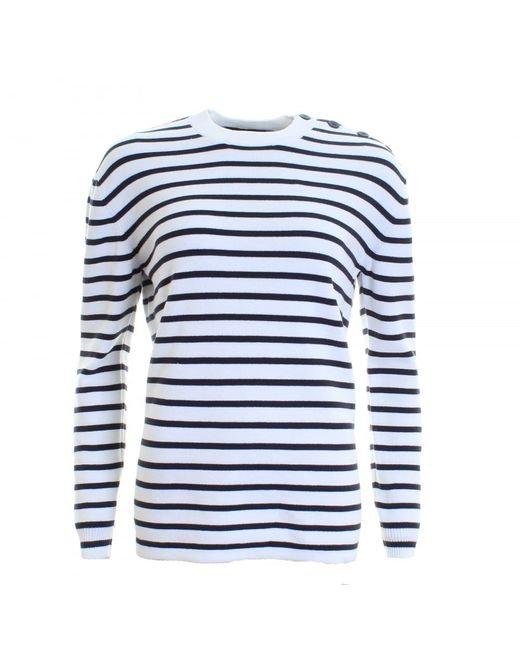 French Connection - Blue Mozart Milano Stripe Long Sleeve Womens Crew Neck - Lyst