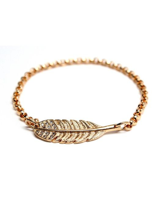 Rachael Ryen | Metallic Gold Feather Bracelet With Cz Accents (as Seen On Classy Girls Wear Pearls) | Lyst