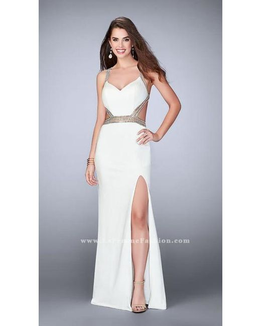 Lyst - La Femme Riveting Jewel-trimmed Sheath Long Evening Gown in White