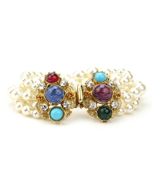 Ben-Amun | Multicolor Byzantine Pearl Bracelet With Stones | Lyst