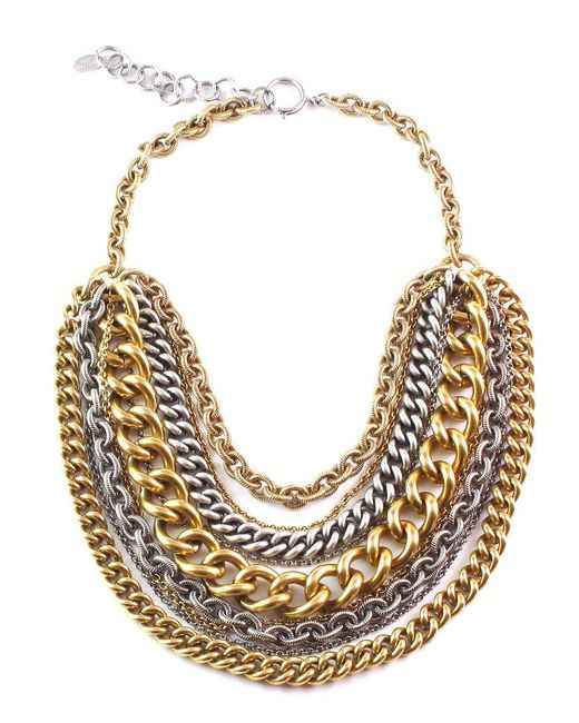 Elizabeth Cole | Black Gold & Silver Chain Necklace | Lyst