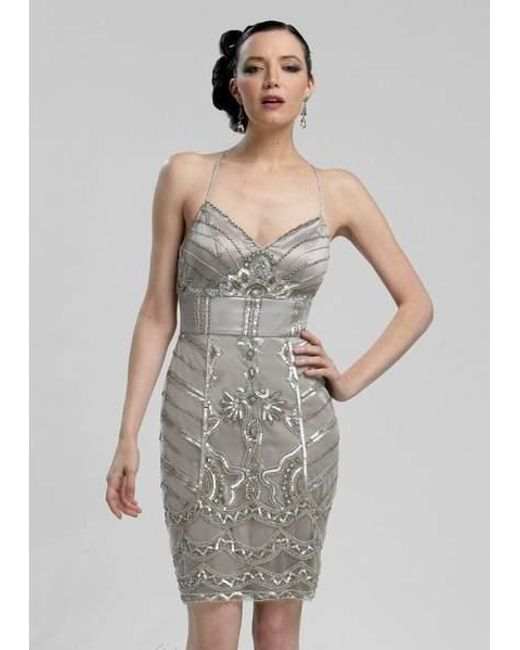 158c9692 Lyst - Sue Wong V-neck Beaded Sheath Dress N3213 - 1 Pc Platinum In ...