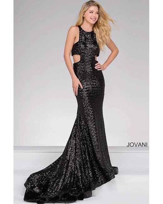 Jovani   Black Cut Out Sequined Prom Dress   Lyst