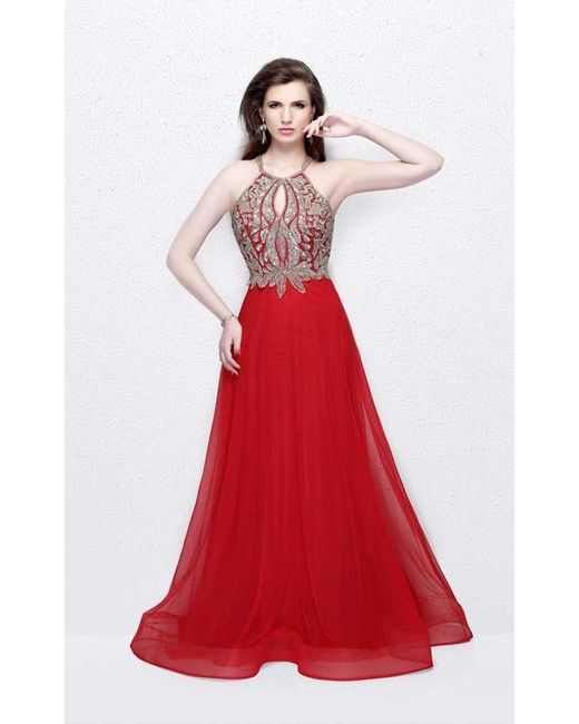 Lyst - Primavera Couture Sparkling Halter Evening Gown in Red