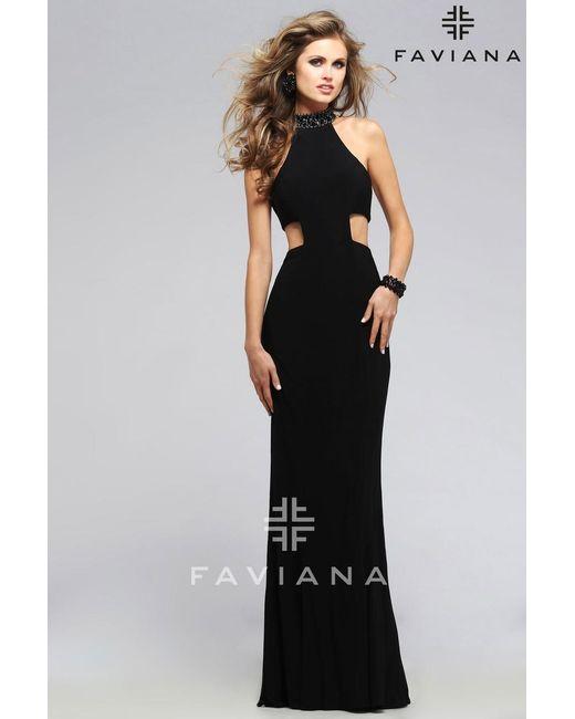 Faviana | Purple Jersey Jewel Neck Evening Dress With Side Cut-outs | Lyst