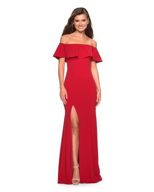 af88c1a21e6 Lyst - La Femme 27096 Ruffled Off-shoulder Jersey Trumpet Dress in Red