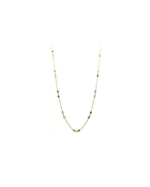 Trésor - Metallic Kt Yellow Gold Necklace With Multi Tourmaline - Lyst