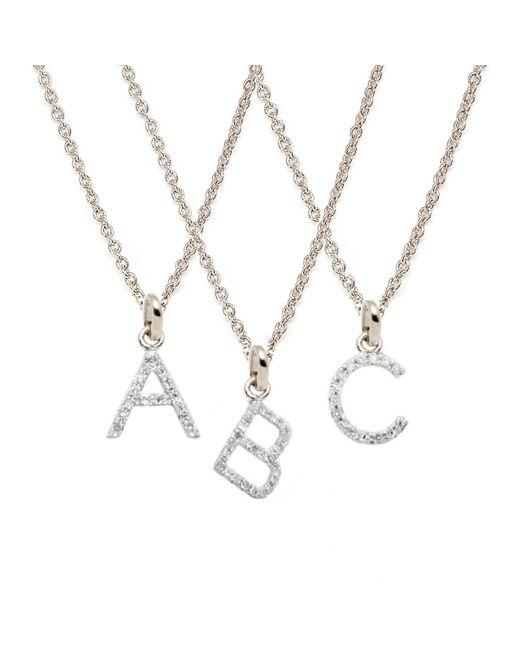 Rachael Ryen | Metallic White Gold Petite Diamond Letter Necklace - All Letters Available | Lyst