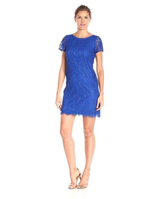 Adrianna Papell - Blue Lace Bateau Neck Sheath Dress 13263430 - Lyst