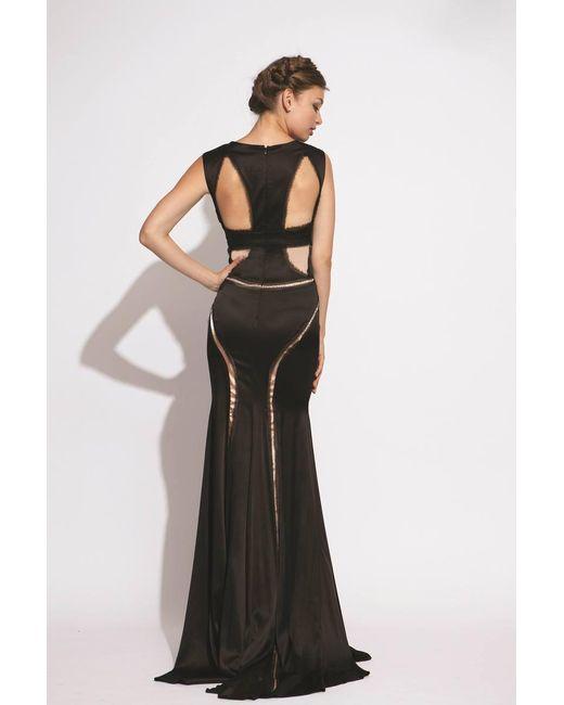Lyst - Jovani Nude Pattern Mermaid Evening Dress in Black