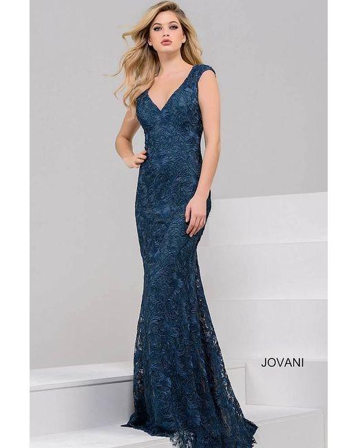 Jovani | Blue Long Lace Evening Dress | Lyst