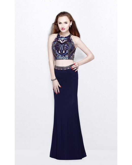 Primavera Couture | Blue Two-piece Sequined Halter Neck Jersey Sheath Gown | Lyst