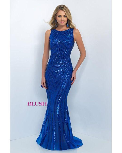Blush Lingerie Sequined Jewel Neck Trumpet Dress In Blue