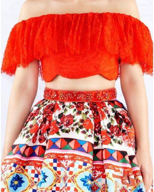 69fb65a40f99 ... Mac Duggal - Red Ballgowns - 40901h Two Piece Printed Pleated Ballgown  - Lyst