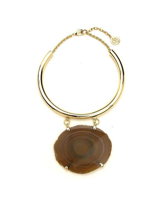 Ben-Amun - Gold Collar Necklace With Brown Geo Stone - Lyst