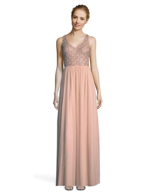 afe67e0533fda Adrianna Papell - Pink Ap1e203719 Beaded V-neck Long A-line Dress - Lyst ...