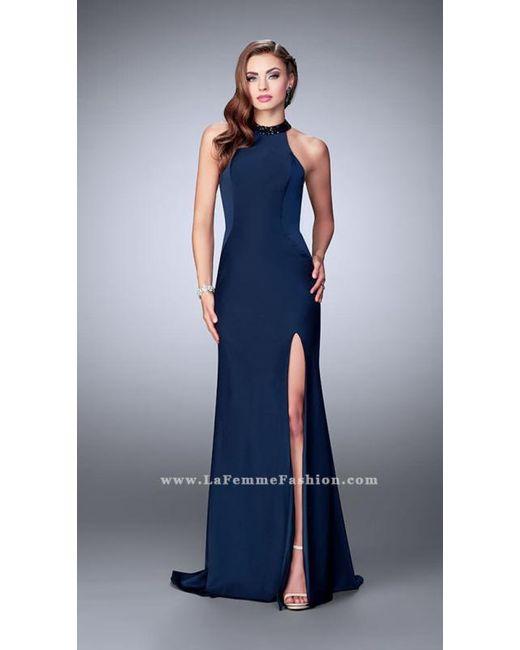 Lyst - La Femme Beaded Halter Neck Strappy Back Jersey Prom Dress in ...