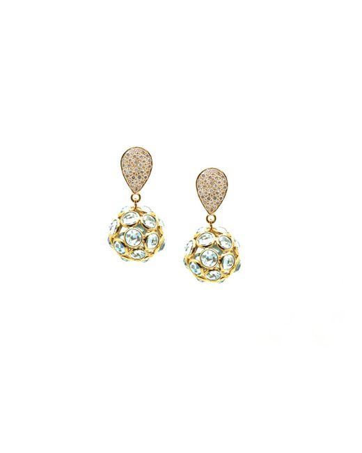 Trésor - Blue Topaz Origami Sphere Ball Earring On A Pear Shaped Diamond Pave Top In K Yellow Gold - Lyst