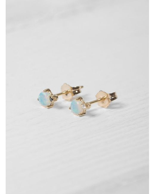 Wwake | Multicolor Mismatched Opal And Diamond Earrings | Lyst