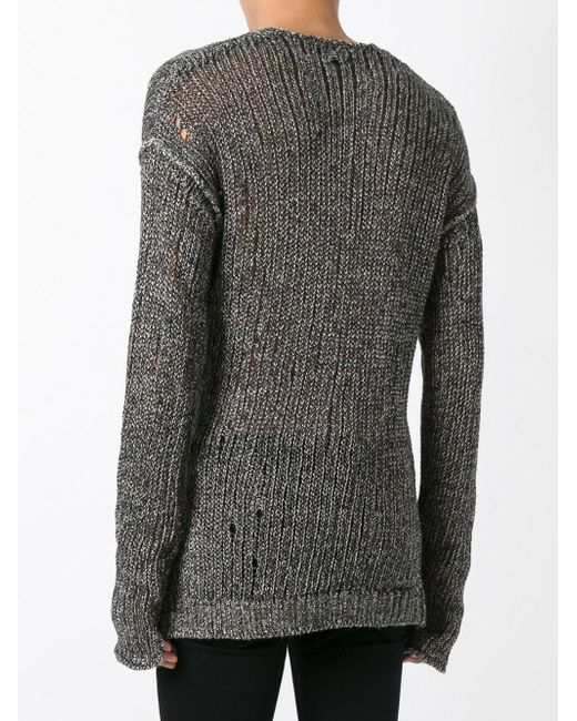 Lost & Found - Gray Linen Cotton Knit Sweater for Men - Lyst