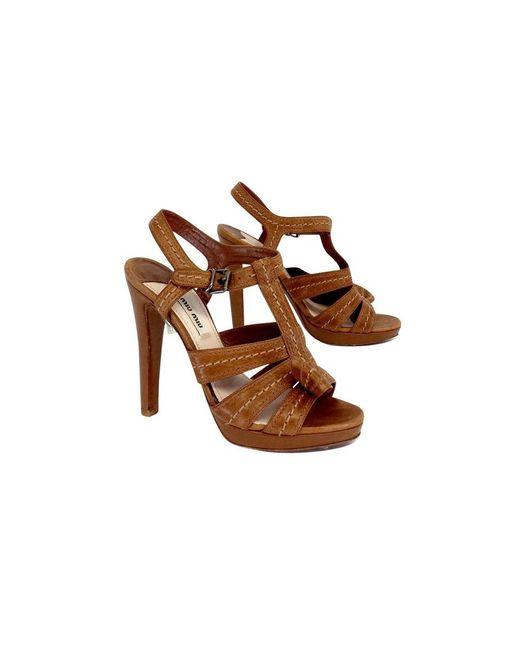 Miu Miu - Camel Brown Heels - Lyst