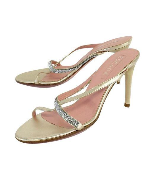 ESCADA - Metallic Gold Rhinestone Strap Heels - Lyst