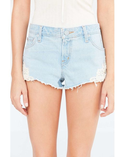 Bdg Low-rise Lace Denim Dolphin Short in Blue (LIGHT BLUE) | Lyst