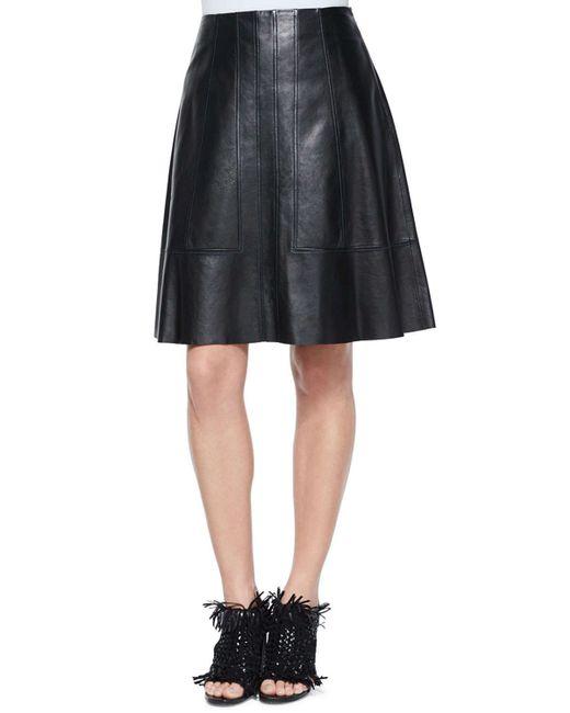 proenza schouler flared lambskin leather skirt in black lyst