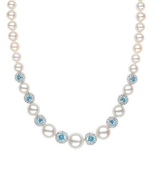 Lord & Taylor   Sterling Silver Freshwater Pearl Blue And White Topaz Necklace   Lyst