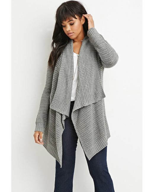Forever 21 | Gray Waffle Knit Cardigan | Lyst
