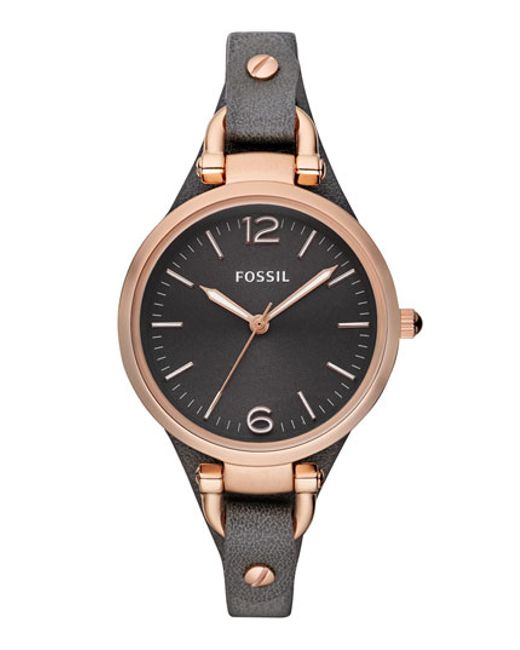 Fossil | Gray 'georgia' Leather Strap Watch | Lyst
