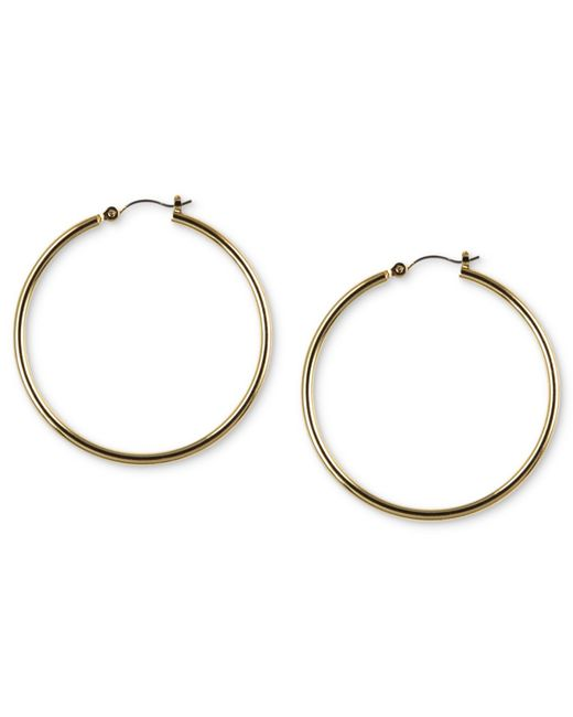 Nine West | Metallic Gold-tone Tube Hoop Earrings | Lyst