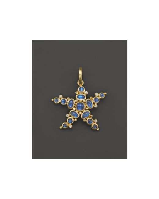Temple St. Clair | Metallic 18k Yellow Gold Medium Sea Star Pendant With Royal Blue Moonstone And Diamonds | Lyst
