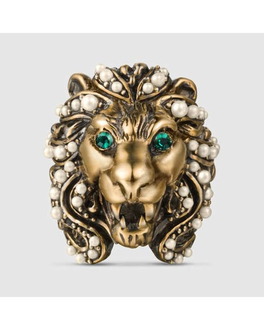 Gucci | Metallic Lion Head Ring With Crystals | Lyst