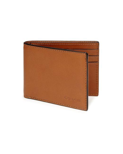 COACH   Brown Slim Billfold Id Wallet for Men   Lyst