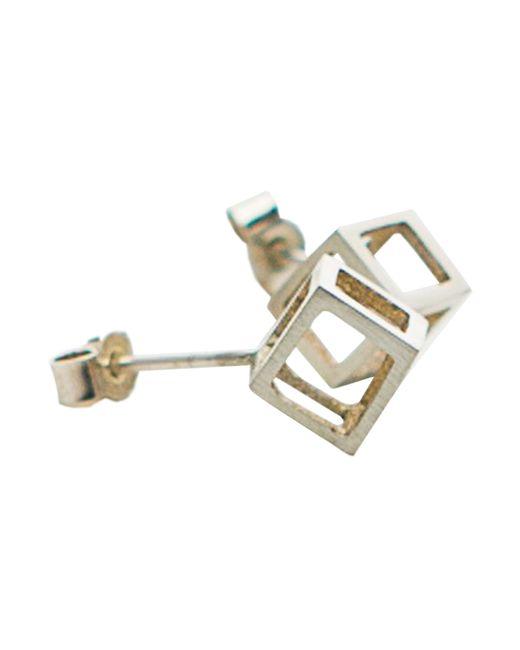 Stephanie Bates | Metallic Mini Silver Cube Studs | Lyst