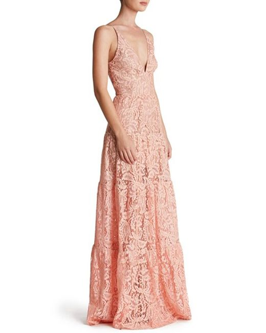 Dress The Population Lace Gown In Pink Lyst