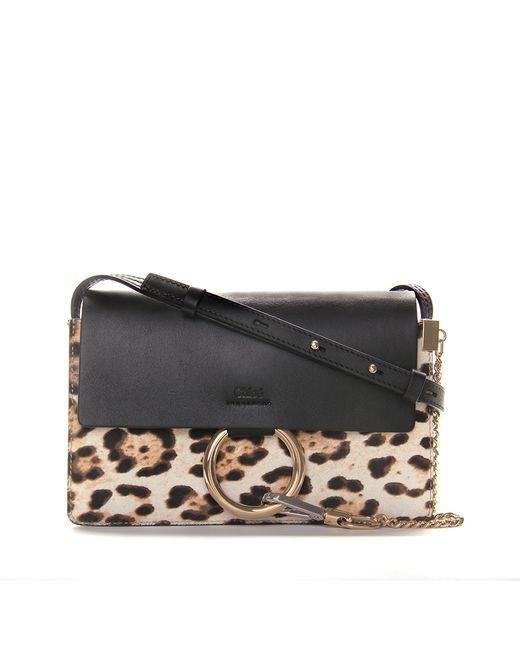 Chloé Black Leopard Small Faye Bag in Brown