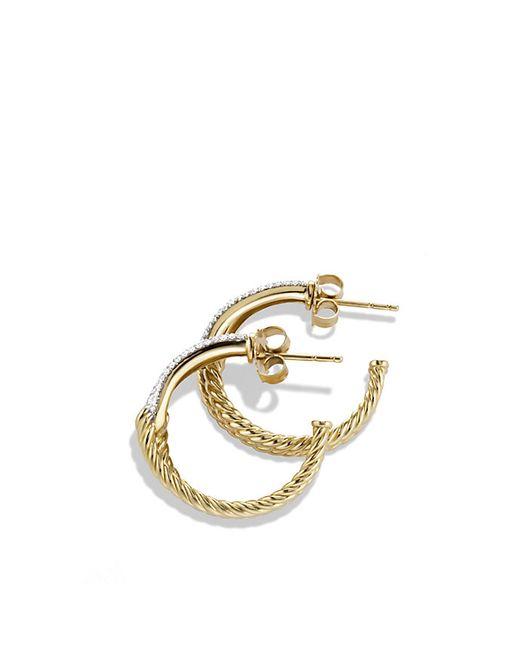 David Yurman | Metallic Labyrinth Hoop Earrings With Diamonds In 18k Gold | Lyst