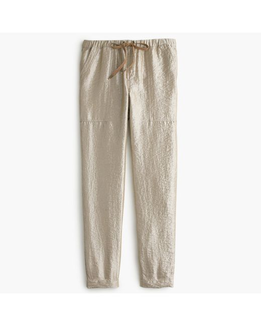 J.Crew | Metallic Washed Lamé Pull-on Pant | Lyst
