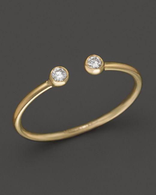 Mizuki | Metallic 14k Yellow Gold Open Ring With Diamonds | Lyst