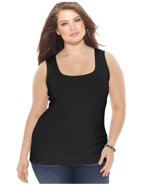 INC International Concepts | Black Plus Size Square-neck Tank Top, Only At Macy's | Lyst