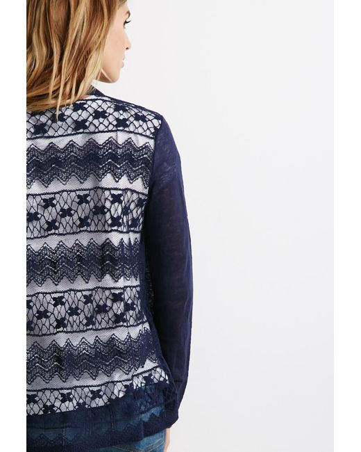 Forever 21 | Blue Contemporary Embroidered Mesh Cardigan | Lyst